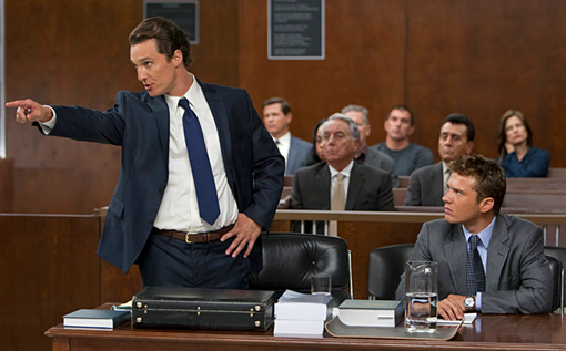 THE LINCOLN LAWYER (2011) Matthew McConaughey (left, as Mick Haller), Bob Gunton (middle-back, as Cecil Dobbs) and Ryan Phillippe (right, as Louis Roulet)